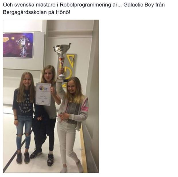 svenska mästare Robotcupjunior2016